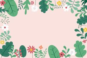 Abstract spring and summer flat simple natural background with flowers, plant and copy space for banner, greeting card, poster. Vector Illustration EPS10