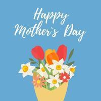 ramo de flores de primavera tulipanes y narcisos. Fondo de concepto de feliz día de las madres. ilustración vectorial. Eps10 vector