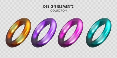 Collection set of realistic 3d render metallic color gradient geometric shapes objects elements for design vector
