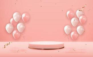 Rose gold pedestal over pink pastel natural background with party balloons. Trendy empty podium display for cosmetic product presentation, fashion magazine. Copy space vector illustration EPS10