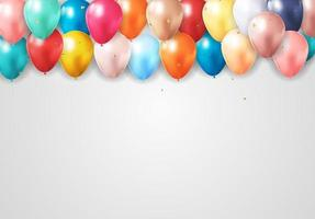 Realistic 3d balloon background for party, holiday, birthday, promotion card, poster. Vector Illustration EPS10