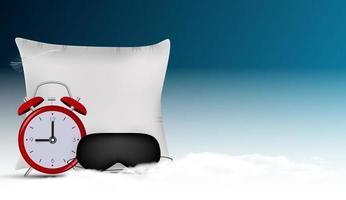 Buenas noches fondo abstracto con máscara para dormir divertida, reloj despertador y almohada contra el cielo azul, estrellas y nubes 3d realistas. ilustración vectorial eps10 vector