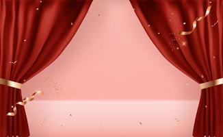 Plantilla de fondo de cortinas abiertas 3d realista. ilustración vectorial eps10 vector