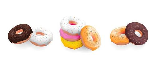 Big Collection Set of Realistic 3d sweet tasty donuts with different colour icing isolated on white background. Vector illustration EPS10
