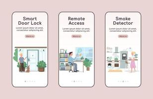 Smart home security onboarding mobile app screen flat vector template. Remote access and automation walkthrough website steps with characters. UX, UI, GUI smartphone cartoon interface, case prints set