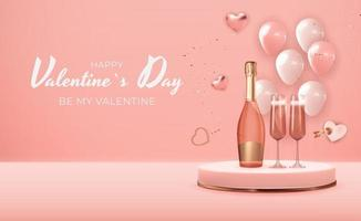 Realistic 3D Valentine s Day Holiday Gift Card Background Design. Template for advertising, web, social media and fashion ads. Poster, flyer, greeting card, header for website Vector Illustration EPS10