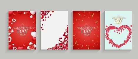Valentines day set backgrounds, card templates, holiday banners, greeting cards. Vector Illustration EPS10