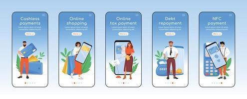 moderno sistema de pago de impuestos que incorpora la plantilla de vector plano de pantalla de aplicación móvil. Pasos del sitio web del tutorial de tecnología financiera con personajes. ux, ui, interfaz gráfica de usuario de dibujos animados para teléfonos inteligentes, conjunto de impresiones de casos