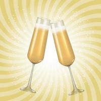 Realistic 3D champagne Golden Glass background. Vector Illustration EPS10