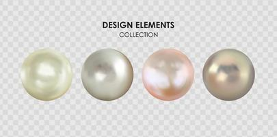 Realistic 3D Pearl collection set isolated vector