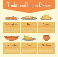 Indian dishes flat color vector informational infographic template. Meal recipes poster, booklet, PPT page concept design with cartoon characters. Menu advertising flyer, leaflet, info banner idea