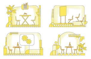 Conjunto de ilustraciones vectoriales de silueta plana interior de empresa. composición del contorno del espacio de coworking sobre fondo amarillo. cafetería, sala de conferencias y oficinas comerciales paquete de dibujos de estilo simple vector