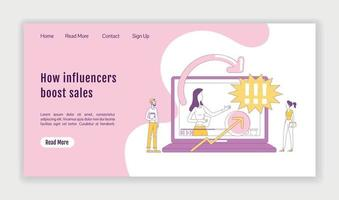How influencers boost sales landing page flat silhouette vector template. Affiliate marketing homepage layout. Vlogging one page website interface with cartoon outline character. Web banner, webpage