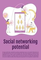 Social networking potential poster flat silhouette vector template. SMM brochure, booklet one page concept design with cartoon characters. Viral inbound marketing flyer, leaflet with text space