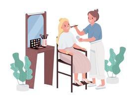 componen caracteres vectoriales de color plano. tratamiento de cosmetología para mujer joven. maquilladores profesionales. consejero estilista. instrucción de rostro. procedimiento de salón de belleza aislado ilustración de dibujos animados vector