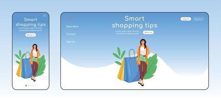 Consejos de compras inteligentes Plantilla vectorial de color plano de página de destino adaptable. ayuda al cliente diseño de página de inicio móvil y de pc. consejos para ahorrar dinero en una página web ui. diseño multiplataforma de página web de consumismo vector