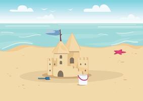 Castillo de arena en la playa ilustración vectorial de color plano. entretenimiento de vacaciones de verano para niños. Castillo de arena y juguetes para niños en la costa paisaje de dibujos animados 2d con agua en el fondo vector