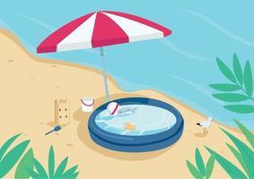 Piscina inflable y sombrilla en la ilustración de vector de color plano de playa de arena. sombrilla, castillo de arena y piscina infantil. vacaciones de verano. paisaje de dibujos animados en 2d de la costa con agua en el fondo