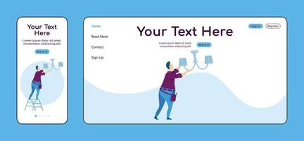 Fixing chandelier adaptive landing page flat color vector template. Electric services mobile and PC homepage layout. Handyman one page website UI. Home repair webpage cross platform design
