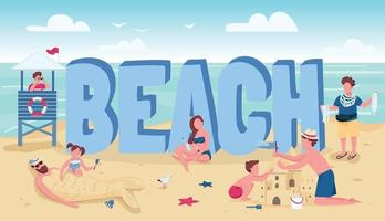 Beach word concepts flat color vector banner. People summertime activities. Summer vacation recreation. Typography with tiny cartoon characters. Holidaymakers relaxing creative illustration