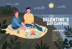 Valentines Day camping banner flat vector template. Brochure, poster concept design with cartoon characters. Couple roasting marshmallow at beach horizontal flyer, leaflet with place for text