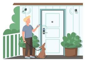 Guy using smart home security flat color vector faceless character. Man controlling automated locks and surveillance cameras. IOT isolated cartoon illustration for web graphic design and animation
