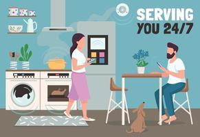 Serving you 24 hours banner flat vector template. Modern home automation brochure, poster concept design with cartoon characters. Smart kitchen horizontal flyer, leaflet with place for text
