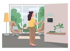 Girl using smart home management panel flat color vector faceless character. Innovative house control system. IOT technology control cartoon illustration for web graphic design and animation