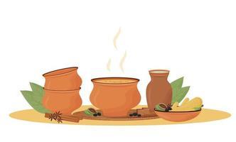 té masala caliente en la ilustración de vector de dibujos animados de tazón de fuente. Bebida tradicional india, mezcla aromática picante objeto de color plano. Restaurante de bebidas, chaiwala servido aislado sobre fondo blanco.