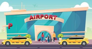 Ilustración de vector de color plano de aeropuerto. transporte para la llegada de la familia turística. Edificio de cristal de la terminal de vuelo. taxi en la calle. Paisaje urbano moderno de dibujos animados en 2d con salida de personas en el fondo