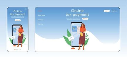 Online tax payment adaptive landing page flat color vector template. E commerce mobile and PC homepage layout. Utility services one page website UI. E payment app webpage cross platform design