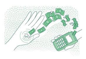 microchip inteligente incrustado en la ilustración de vector de concepto de línea fina de mano humana. pago sin efectivo, personas con chip nfc y personajes de dibujos animados 2d de terminal para diseño web. idea creativa de tecnología inteligente
