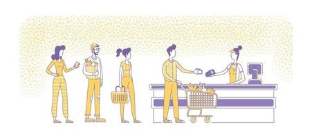 Mobile payments at supermarket checkout flat silhouette vector illustration. People standing in queue, seller and buyers outline characters on white background. NFC, cashless pay simple style drawing