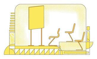 Ilustración de vector de silueta plana de sala de conferencias. sala de reuniones corporativas, composición del contorno de la sala de juntas sobre fondo amarillo. auditorio vacío, aula, sala de conferencias dibujo de estilo simple