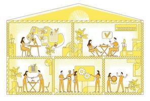 Ilustración de vector de silueta plana de lugar de trabajo de negocios. Los empleados de la empresa describen personajes sobre fondo amarillo. espacio de trabajo corporativo, oficinas, sala de conferencias y zona de estar, dibujo de estilo simple