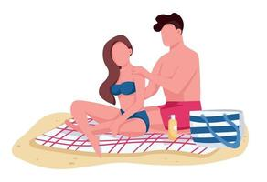Couple applying sunscreen oil on beach flat color vector faceless characters. Boyfriend and girlfriend sunbathing isolated cartoon illustration for web graphic design and animation