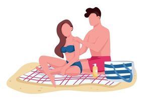 pareja aplicando aceite protector solar en la playa personajes sin rostro vectoriales de color plano. novio y novia tomando el sol ilustración de dibujos animados aislados para diseño gráfico web y animación vector