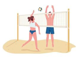 Man and woman playing beach volleyball flat color vector faceless characters. Active summer entertainment, sport game isolated cartoon illustration for web graphic design and animation