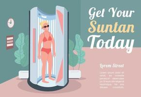 Get your suntan today banner flat vector template. Brochure, poster concept design with cartoon characters. Woman tanning in sunbed. Artificial sunbath horizontal flyer, leaflet with place for text