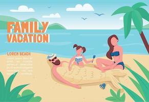 Family vacation banner flat vector template. Brochure, poster concept design with cartoon characters. Parents with child recreation on beach horizontal flyer, leaflet with place for text