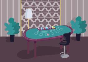 Ilustración de vector de color plano de mesa verde de blackjack. contador para jugar juegos de cartas. pila de fichas para hacer apuestas. lotería de juegos de azar. Sala de casino 2d interior de dibujos animados con decoración de lujo en el fondo