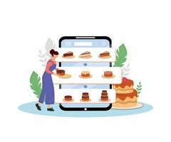 tortas en línea pedir ilustración de vector de concepto plano. cocinera, chef de repostería personaje de dibujos animados 2d para diseño web. servicio de internet de entrega y pedido de panadería dulce idea creativa