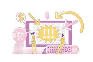 productos de promoción en la ilustración de vector de concepto de línea delgada de televisión. espectadores comerciales de tv personajes de dibujos animados 2d para diseño web. campaña publicitaria offline, idea creativa de marketing digital.