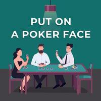 Casino social media post mockup. Put on poker face phrase. Web banner design template. Card dame competition booster, content layout with inscription. Poster, print ads and flat illustration vector