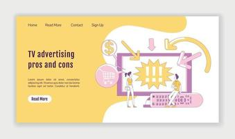 TV advertising pros and cons landing page flat silhouette vector template. Digital marketing homepage layout. Video ads one page website interface with cartoon outline character. Web banner, webpage
