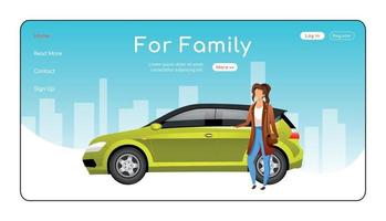 For family landing page flat color vector template. Automobile dealership service homepage layout. Car sale one page website interface with cartoon character. Spacious hatchback web banner, webpage