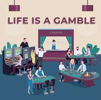 Casino social media post mockup. Life is gamble phrase. Slot machines. Web banner design template. Lottery game booster, content layout with inscription. Poster, print ads and flat illustration vector
