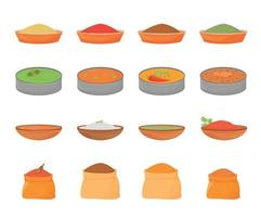 Indian meals and spices flat color vector objects set. Traditional food in metal thali, flavourings in wooden bowls and textile sacks 2D isolated cartoon illustrations on white background
