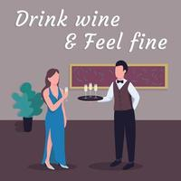 Restaurant social media post mockup. Drink wine and feel fine phrase. Web banner design template. Catering for event booster, content layout with inscription. Poster, print ads and flat illustration vector