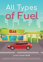 All type of fuel poster flat vector template. Petrol refill for cars. Diesel and petroleum for vehicles. Brochure, booklet one page concept design with cartoon characters. Gas station flyer, leaflet